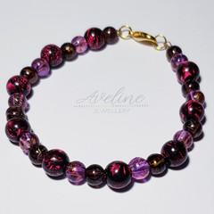 Pink/Black/Purple Beaded Bracelet