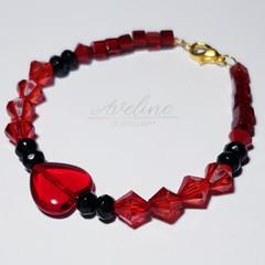Red/Black/Heart Beaded Bracelet