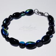 Dark Blue/Metallic Beaded Bracelet