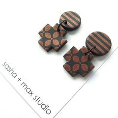 Winter metallics Statement Earrings - copper cross
