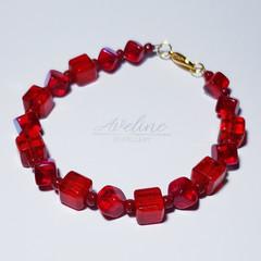 Red/Square Beaded Bracelet