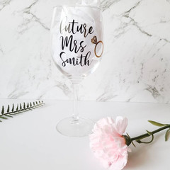 Future Mrs Personalized Stem Wine Glass Future Mrs Gift Bride to be Engagement