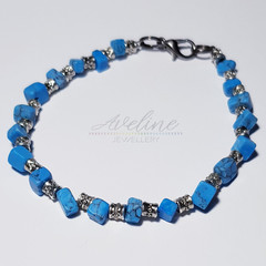 Blue/Metal Beaded Bracelet