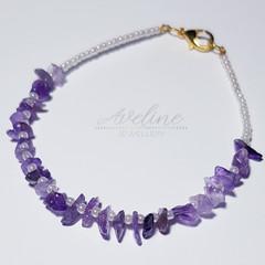 Purple/White Beaded Bracelet