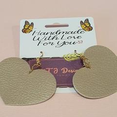 Beige Faux Leather Heart Earrings