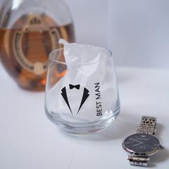 Personalised Groomsmen tuxedo drinking glass gift bestman groomsmen wedding