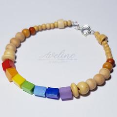 Rainbow/Wood Beaded Bracelet
