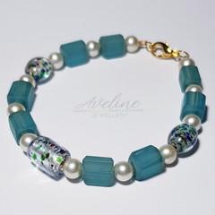 Light Blue/Pearl Beaded Bracelet