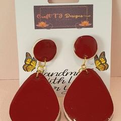 Maroon Wood Earrings