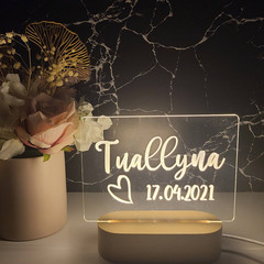 Wedding & Engagement Engraved Personalised Light for Guest Book Table Reception