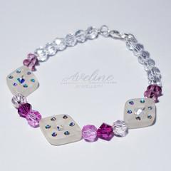 Purple/Clear Beaded Bracelet