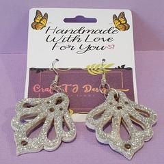 Silver Glitter Wood Earrings