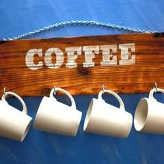 Distressed Wooden Mug Holder Coffee Cup Rack