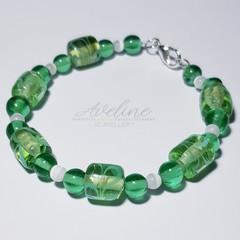 Green/White Beaded Bracelet