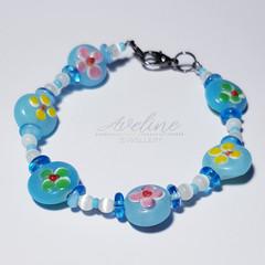 Blue/Flower Beaded Bracelet