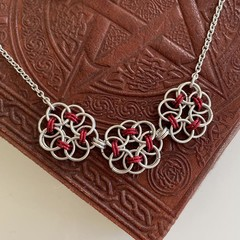Chainmaille Flower Pendant in Red and Silver
