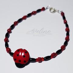 Red/Black/Ladybird Beaded Bracelet