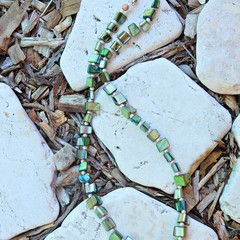 Green & Pink Sea Shell Necklace