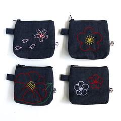 Handmade Denim Zipper Purse • Flower Theme 10x10x3