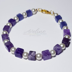 Purple/Pearl Beaded Bracelet