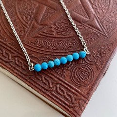 Turquoise Howlite Bead Bar Necklace