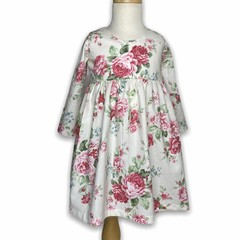 Long Sleeve Tea Party Dress - Off White Roses
