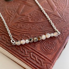 Black Fire Agate Bead Bar Necklace