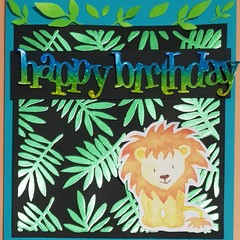 """""""Lion in the jungle"""" Zoo animal card - Blank Birthday"""