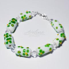 Green/White/Yellow Beaded Bracelet