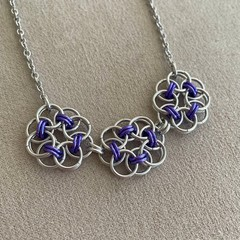 Chainmaille Flower Pendant in Purple and Silver