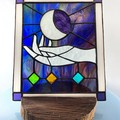 Moon Goddess Caress Stained Glass Panel