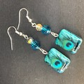 Turquoise Peacock feather themed beaded earrings