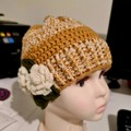 Baby girl beanie with flowers embellishment