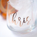 Stemless wine glass customised for wedding favours, birthdays