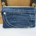 Coin and Card Purse made from Recycled Embroidered Jeans - Swan Lining