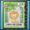 """ROARSOME Lion"" - Zoo Animal Card - Handmade Greeting Card Birthday, Personalise"