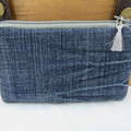 Coin and Card Purse made from Recycled Embroidered Jeans - Floral Lining