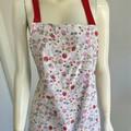 Vintage Look Apron - Strawberry Design on Lemon with Bonus Scrunchie