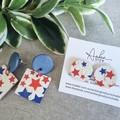 """Americana"" Cork/Genuine Leather, Stud/ Dangle Earrings Red / White / Blue"