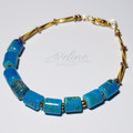 Blue/Gold/Marbled Beaded Bracelet