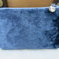 Coin and Card Purse - Women's Ladies - Blue crushed Velvet w/ Silver Charm