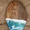 Ocean inspired, resin coated, acacia wood serving, cheese board 28 cm