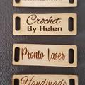 Custom RECTANGLE  Birch PlyWood Knitting Crochet Handmade clothing tags. Wooden