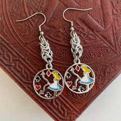 Alice in Wonderland Chainmaille Charm Earrings