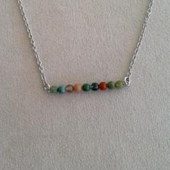 Jasper Bead Bar Necklace