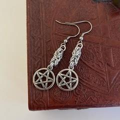 Pentagram Chainmaille Charm Earrings