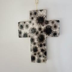 Wall Art - Moody Flowers Cross