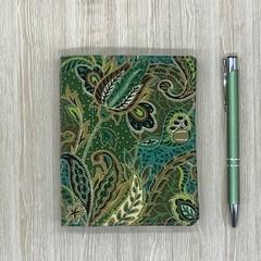 Green paisley Small  Fabric Pocket Notepad Cover
