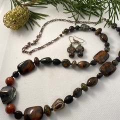 Jasper Necklace and Earring Set