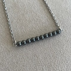 Hematite Bead Bar Necklace